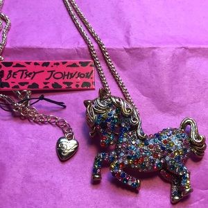 Betsey Johnson colorful horse necklace/broach
